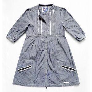 VINTAGE THRIFT Chambray Pintucked Dress + Pockets